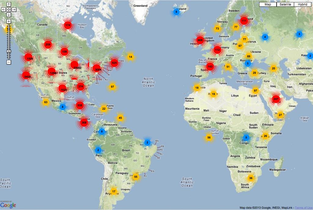 Listener map Network Week Hotspots