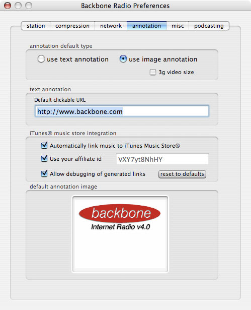 Backbone Radio Preferences iTunes Annotation