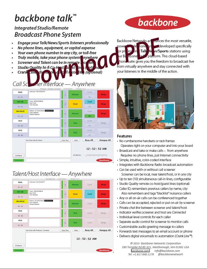 Backbone Talk Datasheet